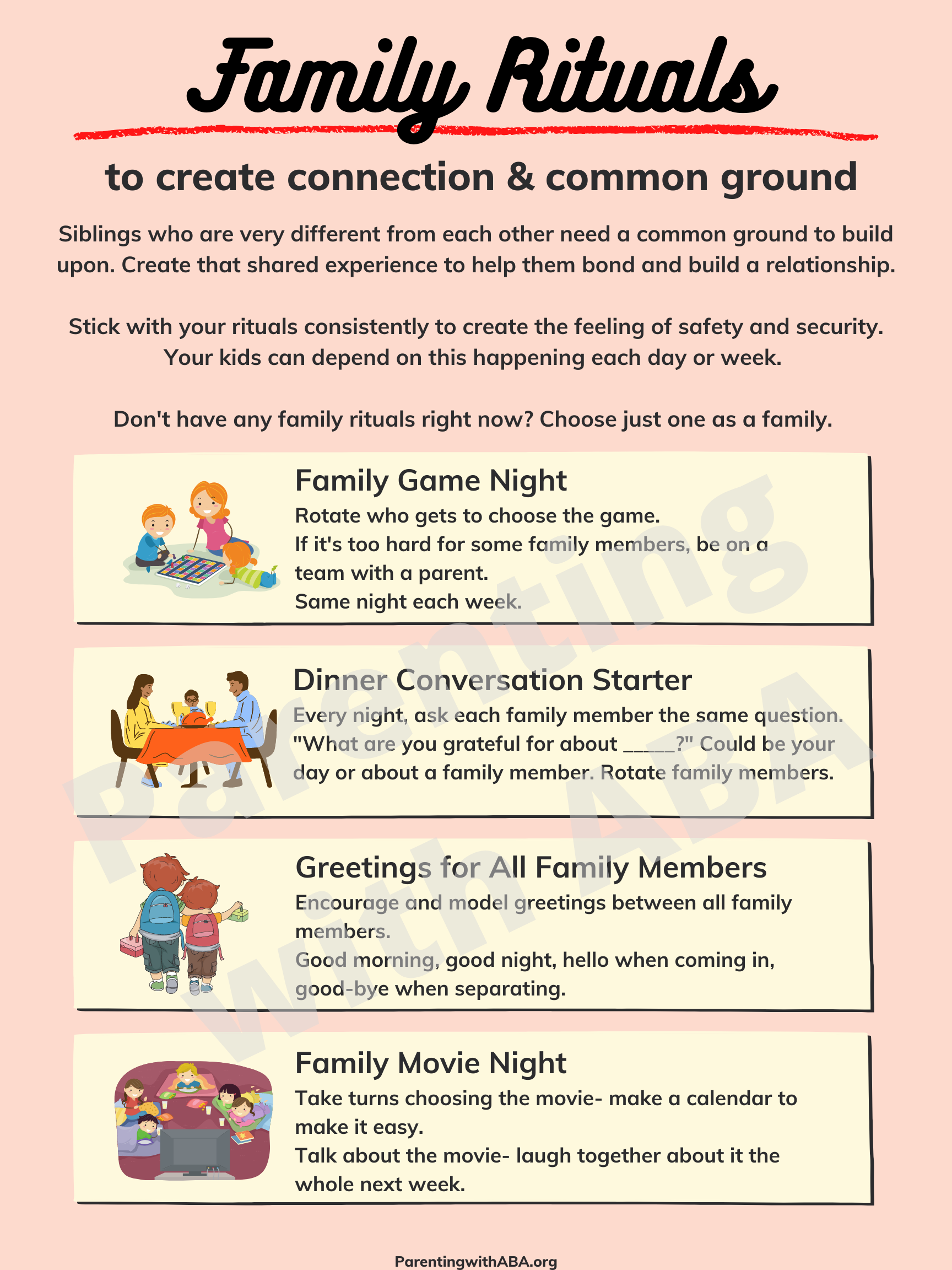 Infographic about the family rituals listed here